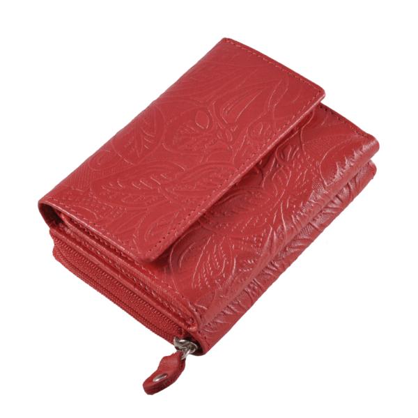 Farkas kis méretű női bőrpénztárca nyomott virágmintával, piros színben