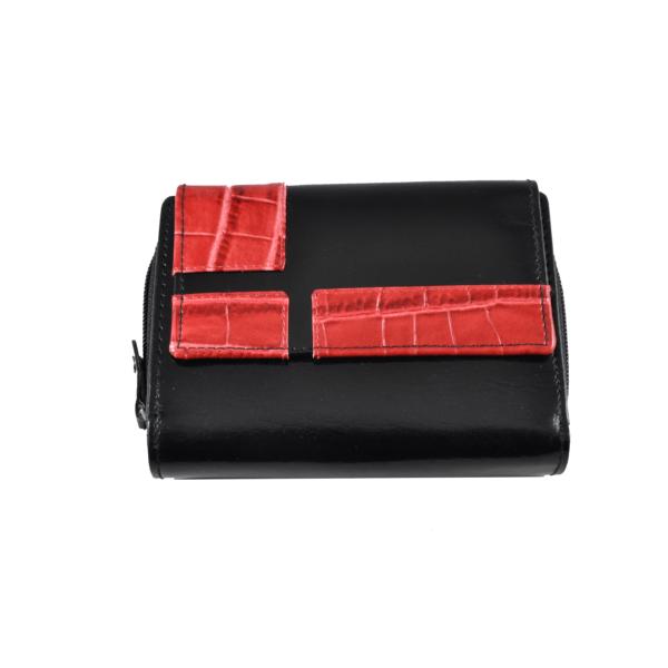 Női bőrpénztárca fekete-piros színben 49371