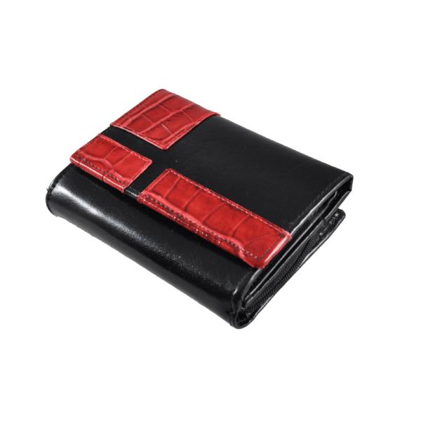 Női bőrpénztárca fekete-piros színben 7901