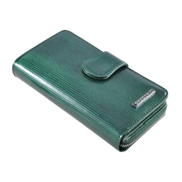 Gregorio zöld színű lakkbőr pénztárca, álló fazon LN116