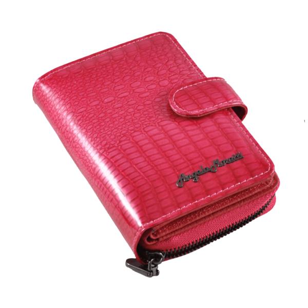 Angela Moretti pink pénztárca lakkbőrből, álló fazon WL03