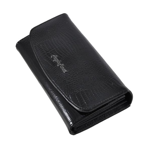 Moretti lakkpénztárca fekete krokós mintával W3002