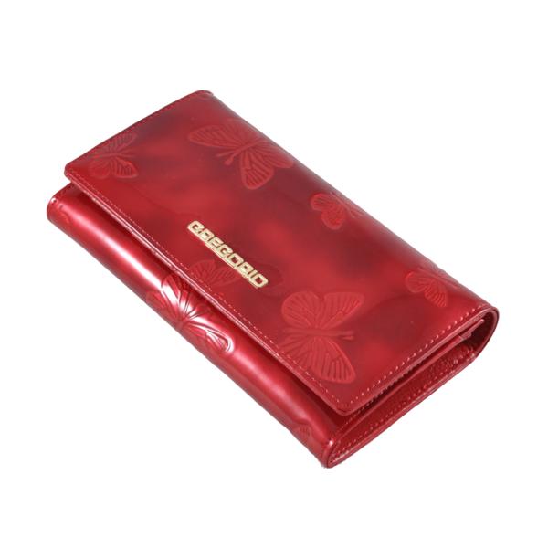 Gegorio lakkpénztárca piros pillangós mintával BT114
