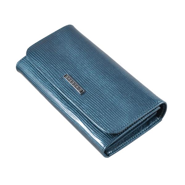 Gregorio elegáns kék lakkpénztárca, RFID védelemmel LN110