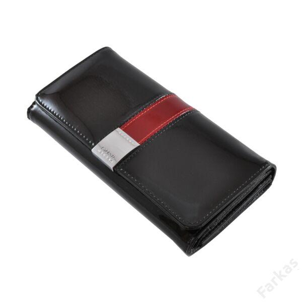 Lorenti fekete lakkpénztárca piros díszelemmel 1077